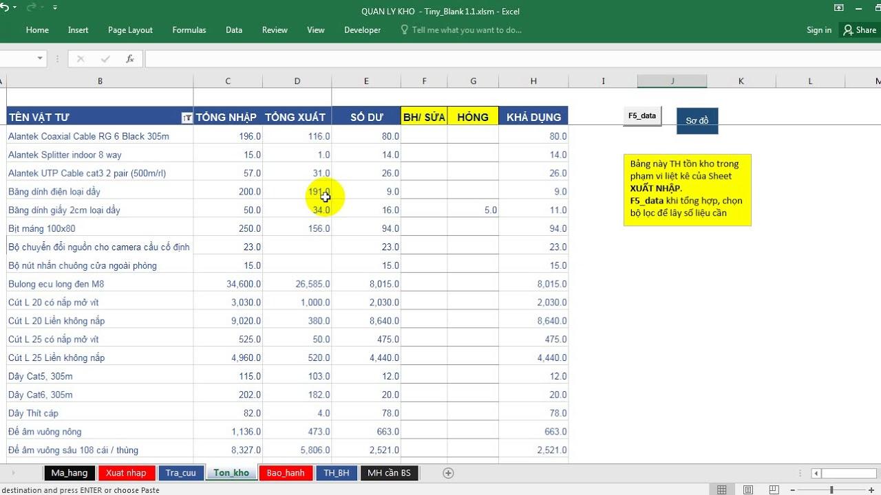 Microsoft Excel – Support tool Quản lý kho: Hướng dẫn + demo | Full file, Mã mở, PivotTable v2.0
